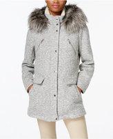 Nautica Faux-Fur-Trim Snap-Front Coat