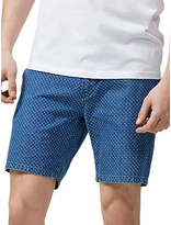 Selected Homme Nolan Dot Print Shorts, Light Blue Denim