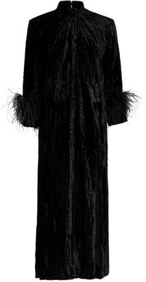 16Arlington Fujiko Feather-Trim Velvet Gown