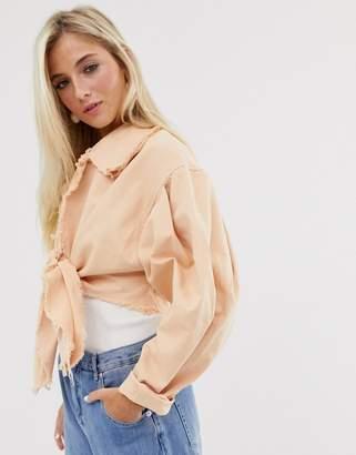 Asos Design DESIGN denim tie front jacket with oversize sleeve-Multi