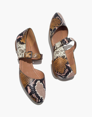 Madewell The Alina Mary-Jane Flat in Snake Embossed Leather