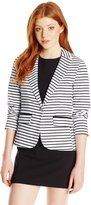 XOXO Women's Striped Single Button Front Blazer Jacket