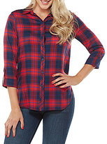 Peter Nygard Plaid Hi-Low Hem Shirt