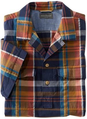 L.L. Bean L.L.Bean Men's Signature Seersucker Popover Shirt, Short-Sleeve, Plaid