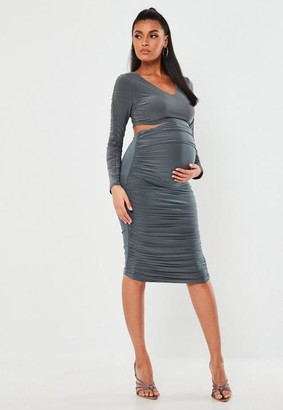 Missguided Gray Slinky Ruched Maternity Midi Skirt