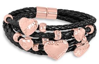 Steel by Design Five-Row Leather Heart Dangle Bracelet