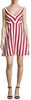 RED Valentino Sleeveless Striped Cotton-Blend Dress, Red