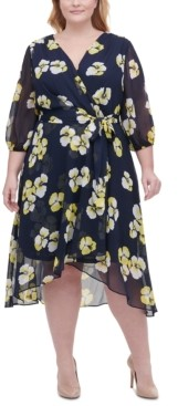 Tommy Hilfiger Plus Size Floral-Print Chiffon Midi Dress