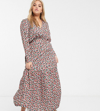 Asos DESIGN Curve long sleeve maxi tea dress in pink floral print