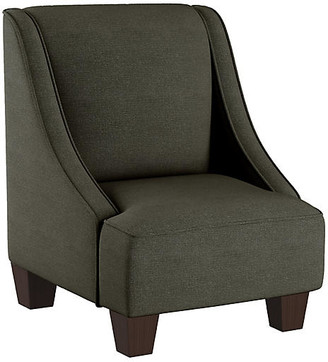 One Kings Lane Fletcher Kids' Accent Chair - Charcoal Linen - frame, espresso; upholstery, charcoal