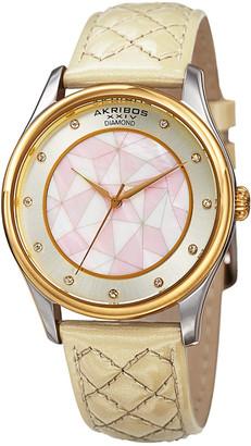 Akribos XXIV Women's Patent Leather Diamond Watch