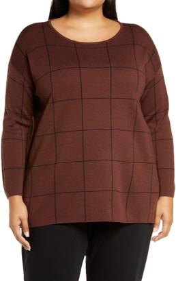 Eileen Fisher Plaid Merino Wool Tunic Sweater