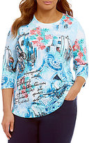 Allison Daley Plus Wide Crew-Neck Scene Print Knit Top