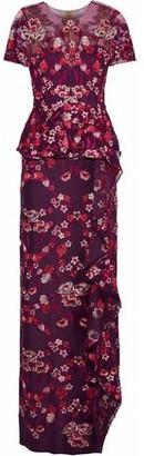 Marchesa Embroidered Tulle Peplum Maxi Dress