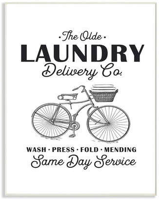 """Stupell Industries Olde Laundry Delivery Co Vintage-Inspired Bike Wall Plaque Art, 10"""" x 15"""""""