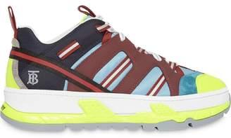 Burberry monogram motif nylon, nubuck and suede sneakers