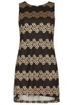 Izabel London *Izabel London Gold Floral Lace Shift Dress