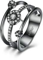 Epinki Gold Plated Women Ring Cubic Zirconia Wedding Band Anniversary Engagement Ring Set Size 7