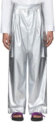 Tibi Silver Nylon Pleated Cargo Pants