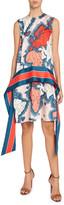 Victoria Victoria Beckham Map-Print Sleeveless Scarf Dress