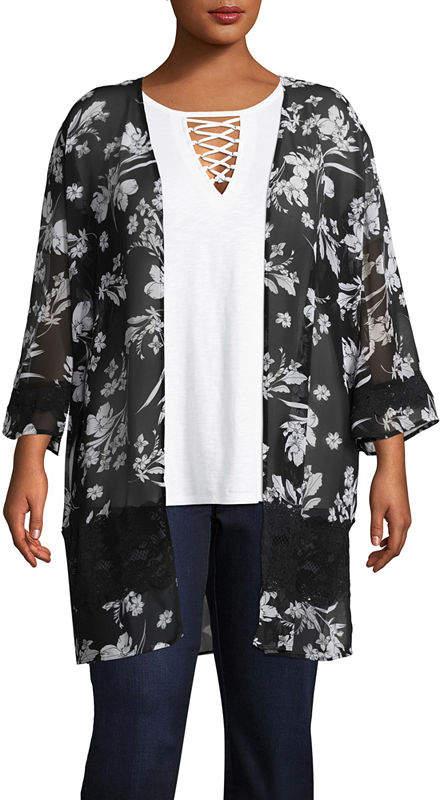 + + 3-4 Sleeve Floral Kimono - Plus