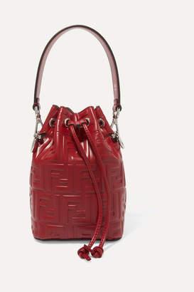 Fendi Mon Tresor Small Embossed Leather Bucket Bag - Burgundy