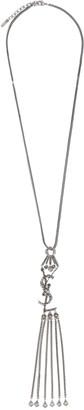 Saint Laurent Monogram Textured Tassel Pendant Necklace