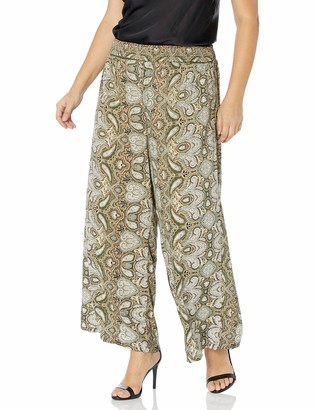 Angie Women's Plus Size Smocked Waist Wide Leg Pants
