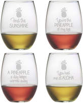 Susquehanna Glass Set Of 4 Pineapple Talk Assortment Stemless Wine Glasses