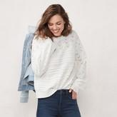Lauren Conrad Women's Blouson Sleeve Stitched Sweater