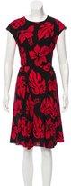 Prada Tropical Print Gathered Dress