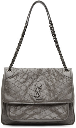 Saint Laurent Grey Large Niki Shoulder Bag