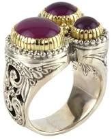 Konstantino Sterling Silver & 18K Gold Frame Amethyst Round Triple Ring - Size 7