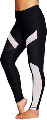 90 Degree By Reflex Women's Leggings WHTBK - White & Black Metallic Mesh-Panel Leggings - Women
