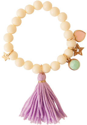 Henny And Coco Henny and Coco Women's Bracelets CREAM - Cream & Purple Adelia Tassel Charm Bracelet