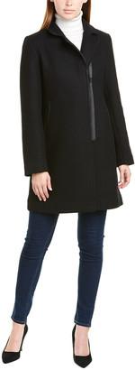 trina Trina Turk Trina By Trina Turk Leather-Trim Wool-Blend Coat