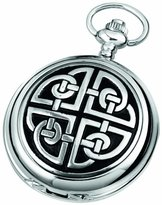 Celtic Woodford Skeleton Pocket Watch, 1909/SK, Men's Chrome-Finished Knotwork Pattern with Chain (Suitable for Engraving)