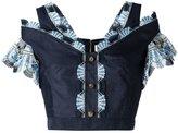 Peter Pilotto guipure trim crop top - women - Cotton/Linen/Flax/Polyester - 10