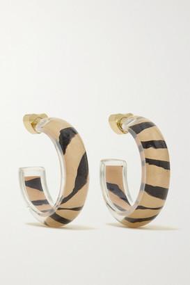 Alison Lou Jelly Tiger 14-karat Gold, Lucite And Enamel Hoop Earrings - Brown