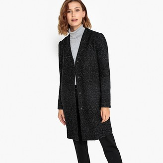 Vila Metallic Wool Mix Coat in Mid-Length with Single-Breasted Buttons