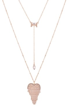 """GUESS Gold-Tone Crystal Double-Layer Pendant Necklace, 32"""" + 2"""" extender"""