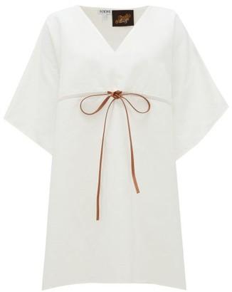 Loewe Paula's Ibiza - Leather-drawstring Linen Top - White