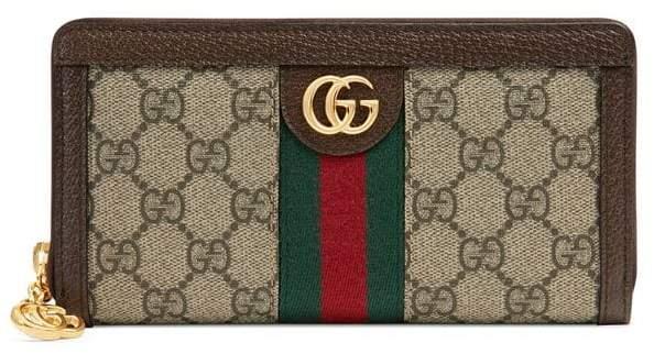Gucci beige Ophidia GG zip around wallet