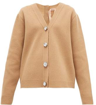 No.21 No. 21 - Crystal-button Wool-blend Cardigan - Womens - Beige
