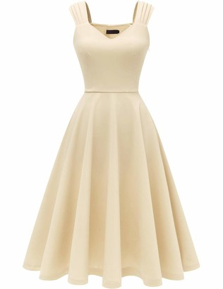 DRESSTELLS Women's 50s Bridesmaids Vintage Party Retro Sleeveless V-Neck Cocktail Tea Swing Dress Blush 3XL