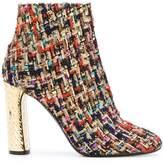 Casadei metallic heel tweed boots