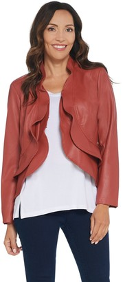 Belle By Kim Gravel Faux Leather Cropped Jacket w/ Ruffle Trim