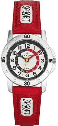 Certus - 647542-way Watch Analogue Quartz White Dial PU Strap-Red