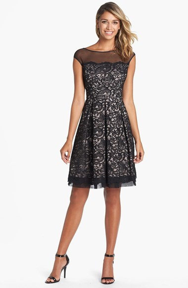 Eliza J Illusion Yoke Lace Fit & Flare Dress