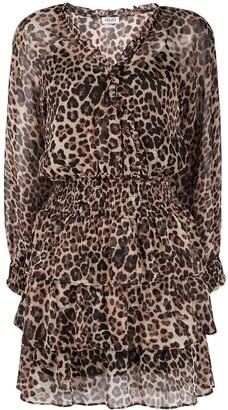 Liu Jo Leopard-Print Long-Sleeved Mini Dress